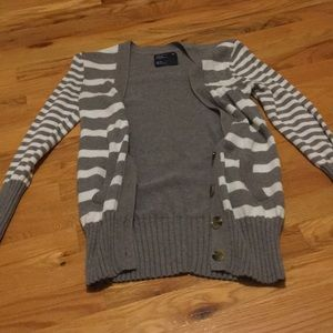 USED American Eagle Striped Button Up Sweater